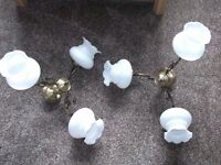 2 x Antique brass Style 3 light Chandlier / ceiling light with glass shades