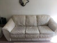 3 SEATER AND 2 SEATER CREAM LEATHER SOFA'S, USED, FREE.£0