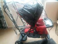 Joovy Caboose Graphite Stand-On Tandem Pushchair with RAIN COVER.