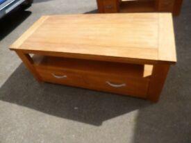 NEXT Cambridge tv unit/coffee table, oak / oak veneer with drawer