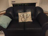 Navy leather sofas