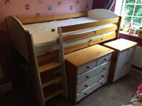 High Sleeper with Wardrobe, Chest, Cabinet and Bookcase
