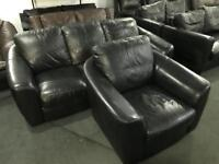 Black leather 3 and 2 Sofa set