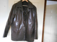 Men's Dark Brown Leather Jacket - Size Medium
