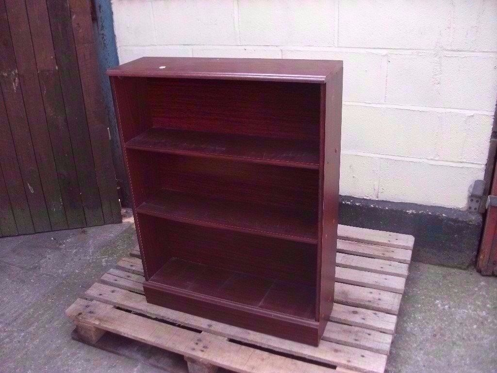 Book shelf dark wood three shelves delivery available £10