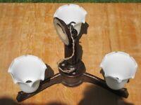 Solid Oak Triple Light Fitting