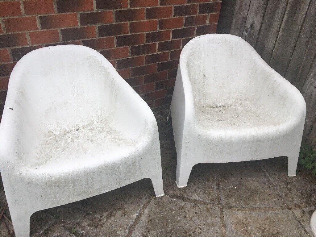 2 Ikea Skarp 214 White Garden Armchairs In Newcastle Tyne