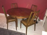 Extendable round G plan dining table with 4 chairs