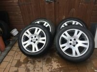 "Range Rover sport alloy wheels 19 "" 2no good tyres 2no needing replaced £100"