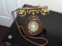 Old Antique Style Telephone in Brown and Gold