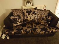 3 Seater + 2 Seater Settee Sofa Suite Black Gold