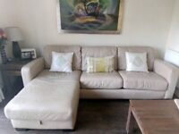 Sofa bed, real leather, corner. From Firniture Village. 5 years old in good condition.