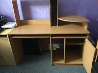 Desk pull out keyboard shelf and cupboard pine effect