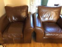Tan, leather corner sofa and two armchairs for sale