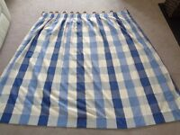 IDEAL FOR LOUNGE!! 2 PAIRS BLUE AND CREAM CURTAINS + 2 POLES + 4 CUSHION COVERS, VG QUALITY, VGC