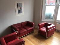 Red Leather Le Corbusier Sofa and 2 Armchairs
