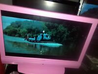"BRIGHT PINK 19"" ALBA FREE VIEW HDMI TV NICE PICTURE AND SOUND"