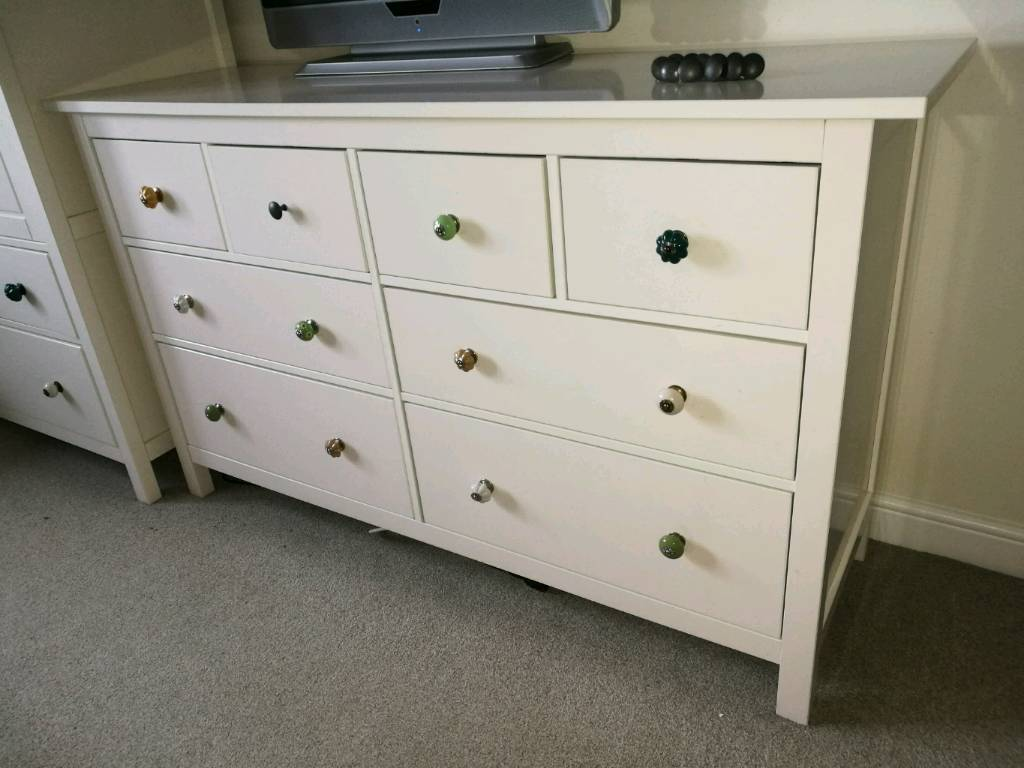 Ikea Hemnes Large 8 Drawer Cream Off White Chest Of Drawers With