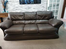 BROWN LEATHER 3+2 SEATER SOFAS PLUS FOOTSTOOL - MUST GO ASAP - CHEAP DELIVERY - £495