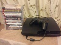 Sony PS3 Slim 160gb Black Console + 15 Games