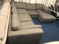 EX DISPLAY *FAMOUS BRAND* LARGE CORNER SOFA + CHAISE - DARK GREY/BROWINISH-FABRIC | 07824772721