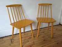 Vintage Danish Folke Palsson FDB Mobler Dining Chairs x 2 1970s Worn Lovely