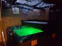 Rhine hot tub 5 seats plus lounger led lights music offers welcome loads of cable