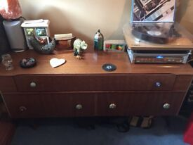 70s light brown wooden dressing table drawers
