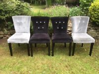 2 x Silver and 2 x Black Velvet Material Chairs with Diamonte Buttons and Dark Wooden Legs