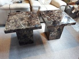 Two matching marble lamp tables - Formerly SCS, immaculate condition.