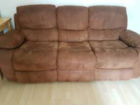 2 seater and 3 seater faux suede recliner sofa
