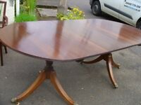 Vintage oval extending dining table for 8 seater - folding table, 2 pedestals, solid wood.