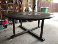 Large 6 Seater Wooden Garden Table & Chairs