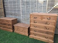 Beautiful matching solid pine bedroom furniture, refurbished, great quality, set or separate