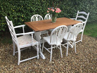 Lovely Shabby Chic Painted Rustic Oak Dining table & Six Chairs