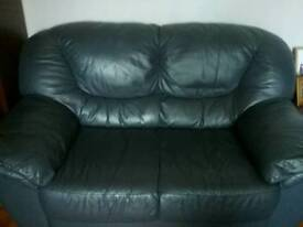 Navy/aqua blue leather suite of furniture