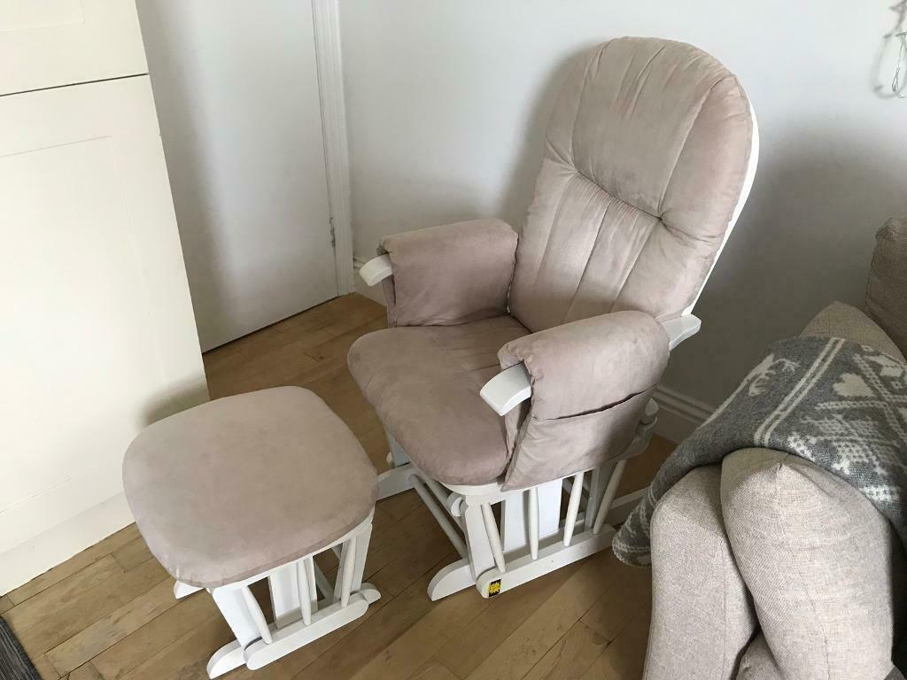 The Tutti Bambini Reclining Glider Chair With Stool Cream Cushions White In Twickenham London Gumtree
