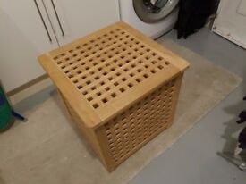 Wooden linen basket, laundry bin, storage box, excellent condition