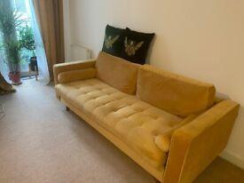 LAFII.T Mid-Century Modern Velvet Mustard Sofa. £ 180