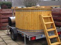 Ø1,8m Wooden hot tub with plastic liner wood fired barrel bath spa hot tub RRP£4950
