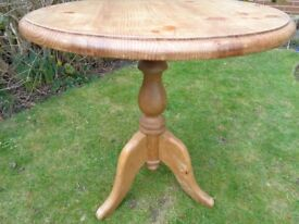 Small round pine table