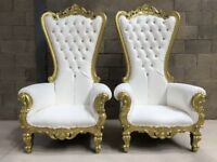 2x BRAND NEW Pretoria King Throne Chairs (180cm) - Gold Wedding Luxury French Italian Furniture