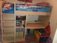 High sleeper with desk and storage. Single bed/bunk bed