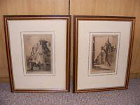 2 Vintage Etchings (Edinburgh Scenes) by Preston Cribb
