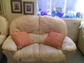 Two Seat Cream Leather Sofa GT 563