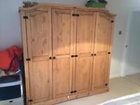 Wardrobe,chest of draws,bedside table Mexican pine 4 months old