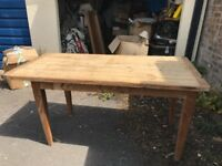 Wooden kitchen table, solid base and top. Width 30 in x length 60 in x height 30 inches