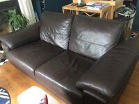 Three-seater leather vintage sofa