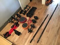 Various home gym weights