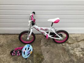 14 inch girls bicycle with helmet